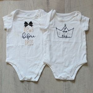 2 Macy's First Impressions Graphic Bodysuits 3-6Mo